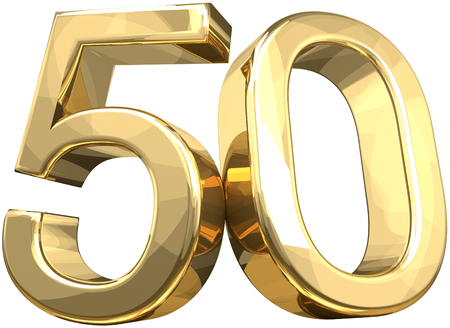 Photo for 50 golden number isolated 3d rendering - Royalty Free Image