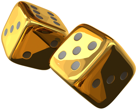 Photo for cube dices golden 3d rendering isolated - Royalty Free Image