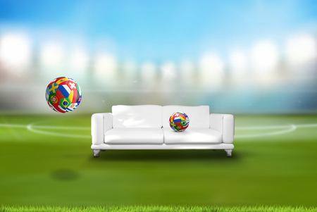 football soccer ball with various nations with couch in stadium 3d rendering