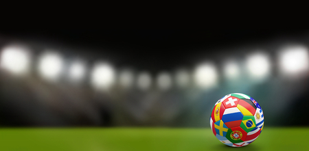 football soccer ball with various nations 3d rendering