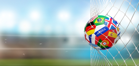 Foto de soccer goal soccer ball with flags in net at soccer stadium 3d rendering - Imagen libre de derechos