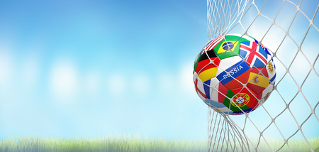 soccer goal soccer ball with flags in net at soccer stadium 3d rendering