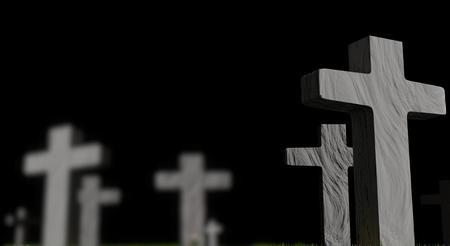 Foto de graveyard with grave crosses 3d-illustration - Imagen libre de derechos