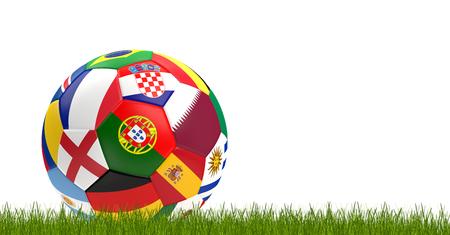 soccer ball flags 3d-illustration