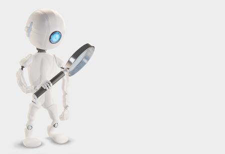 Foto de Robot with magnifying glass 3d-illustration - Imagen libre de derechos