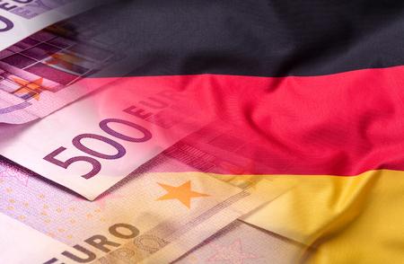 Foto de Flags of the Germany and the European Union. Germany Flag and EU Flag. World flag money concept. - Imagen libre de derechos