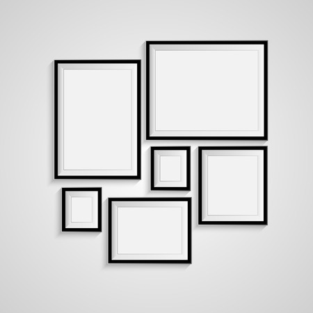 Illustration pour Blank picture frame template set isolated on wall - image libre de droit