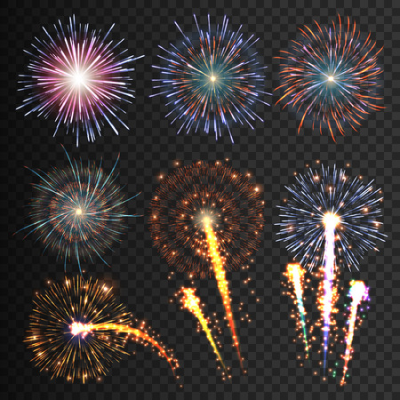 Illustration pour Collection festive fireworks of various colors arranged on a black background. Isolated outbreaks transparent to paste. Set of sparkling abstract shapes. Vector illustration EPS10 - image libre de droit