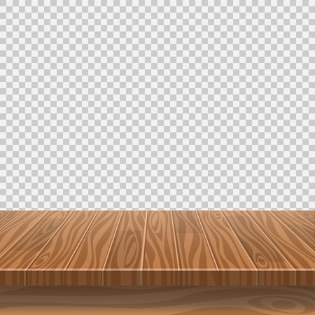 Ilustración de Empty wooden table for product placement or montage with focus to the table top, with isolated white background. Vector illustration - Imagen libre de derechos