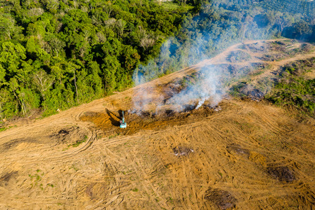 Photo pour Aerial view of deforestation.  Rainforest being removed to make way for palm oil and rubber plantations - image libre de droit