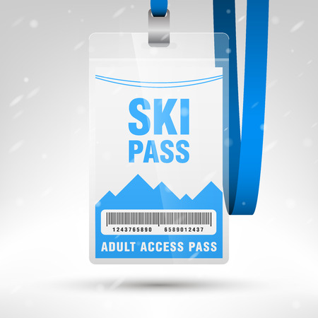 Illustration pour Ski pass vector illustration. Blank ski pass template with barcode in plastic holder with blue lanyard. Lift cable, mountains and snow on the background. Vertical layout. - image libre de droit