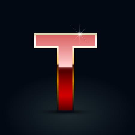 Ilustración de Red glossy casino letter T uppercase. Vector font with golden outline isolated on black background - Imagen libre de derechos