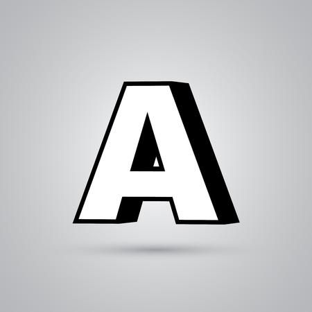 Ilustración de White 3D vector letter A uppercase with black border. Glossy font with light reflection and shadow isolated on white background - Imagen libre de derechos