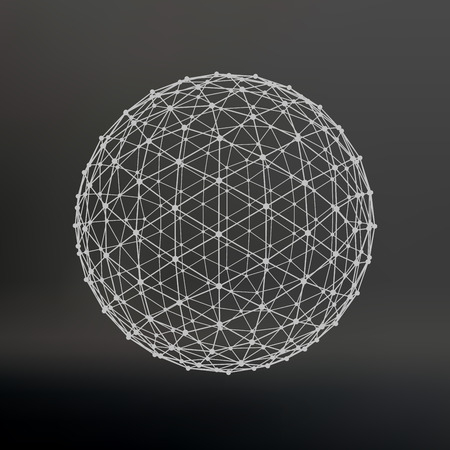 Ilustración de Scope of lines and dots. Ball of the lines connected to points. Molecular lattice. The structural grid of polygons. Black background. The facility is located on a black studio background - Imagen libre de derechos