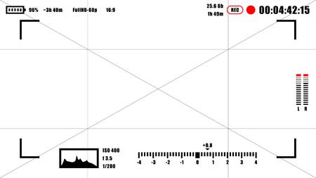 Illustration pour Camera viewfinder rec background. Camera focusing screen - image libre de droit