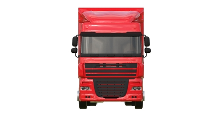 Photo for Large red truck with a semitrailer. Template for placing graphics. 3d rendering. - Royalty Free Image