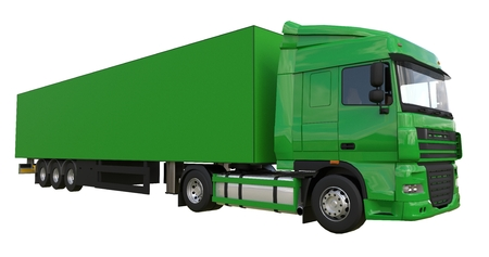 Photo for Large green truck with a semitrailer. Template for placing graphics. 3d rendering - Royalty Free Image