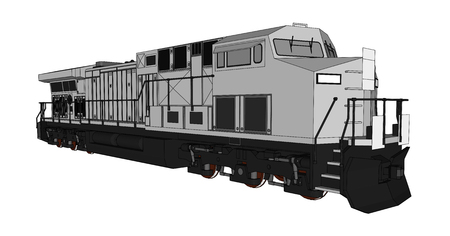 Ilustración de Modern diesel railway locomotive with great power and strength for moving long and heavy railroad train. Vector illustration with outline stroke lines - Imagen libre de derechos