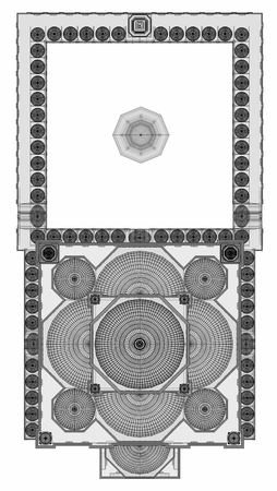 Foto de A large Muslim mosque, a three-dimensional raster illustration with contour lines highlighting the details of construction. The building has transparent walls. 3d rendering - Imagen libre de derechos