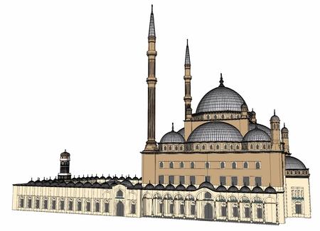 Foto de A large Muslim mosque, a three-dimensional raster illustration with contour lines highlighting the details of construction. 3d rendering - Imagen libre de derechos