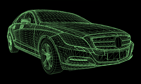 Illustration pour The model sports a premium sedan. Vector illustration in the form of a green polygonal triangular grid on a black background - image libre de droit
