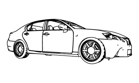 Illustration pour Vector drawing car made in black contour lines on a white background - image libre de droit