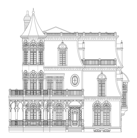 Illustration pour Old house in Victorian style. Illustration on white background. Black and white illustration in contour lines. Species from different sides - image libre de droit