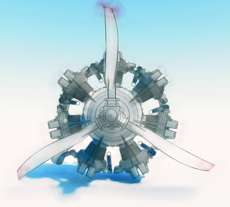 Photo for Old rotary circular aircraft engine with propeller. The illustration is stylized as a hand drawing. 3d rendering - Royalty Free Image