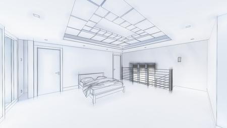 Photo pour 3d illustration of living room and kitchen interior design. 3d rendering - image libre de droit