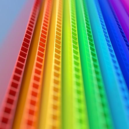 Foto de Stack of colorful corrugated plastic sheets close up view with depth of field - Imagen libre de derechos