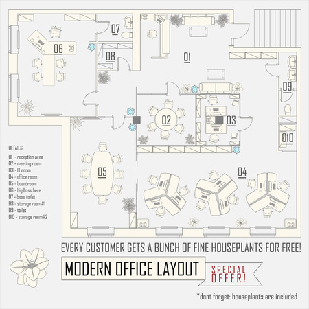 Illustration pour modern office interior vector layout with furniture - image libre de droit