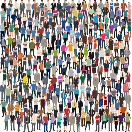 vector background with huge crowd of different standing people