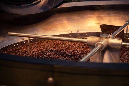 Foto de Professional mixer for cooling fresh roasted coffee beans, special equipment in a modern roasting factory - Imagen libre de derechos
