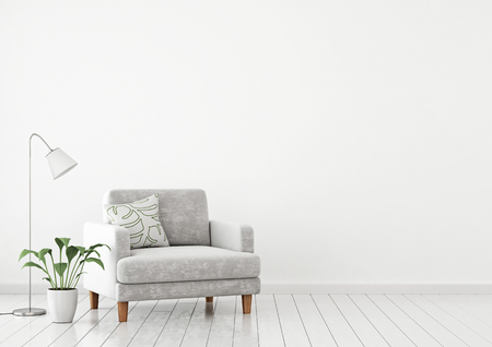 Photo pour Scandinavian style interior wall mock up with gray velvet armchair, pillow and plants on white wall background with free space on right. 3d rendering. - image libre de droit
