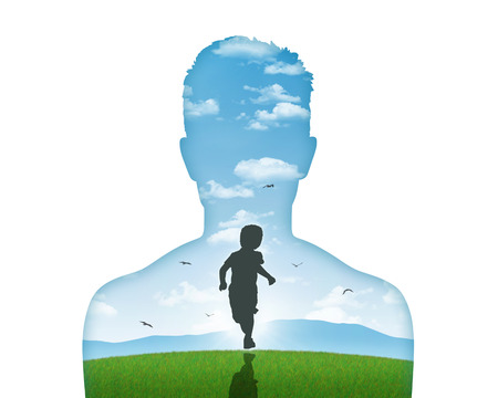 silhouette of a young man s portrait showing his inner child living in his mind
