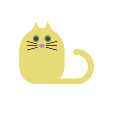 Illustrazione per Yellow funny cat icon - Immagini Royalty Free