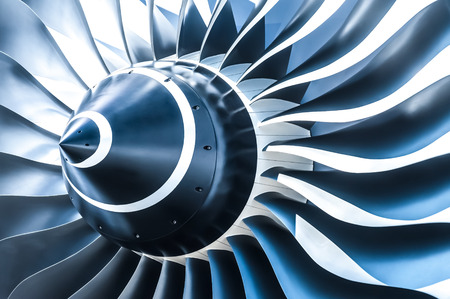 Photo for blue tone jet engine blades closeup - Royalty Free Image