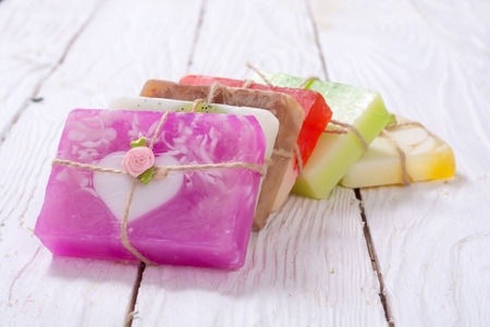 Photo for Set of colorful fruit handmade soap . - Royalty Free Image