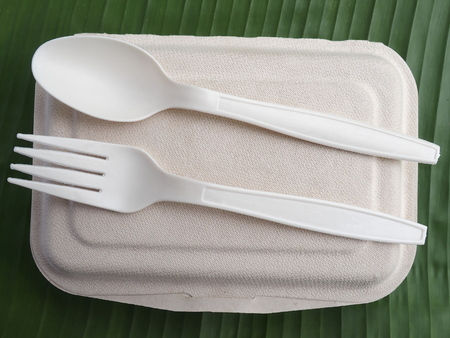Photo for bioplastic spoon fork lunch box on banana leaf - Royalty Free Image