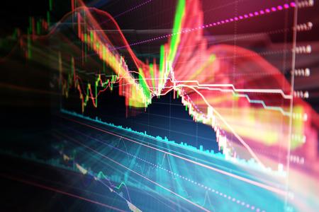 Foto de Candle stick graph chart of stock market investment trading - Imagen libre de derechos