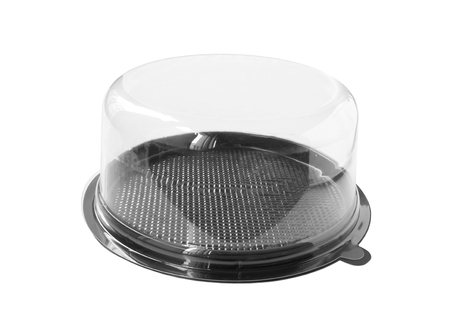 Photo pour Round Cake Box Clear Cap isolated on white background clipping paths - image libre de droit