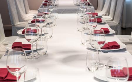 Dining table arrangement inside a restaurant.