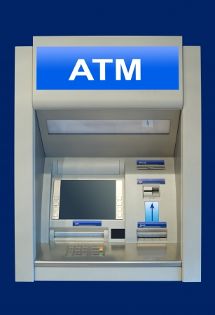 an automatic cash terminal, isolated over deep blue