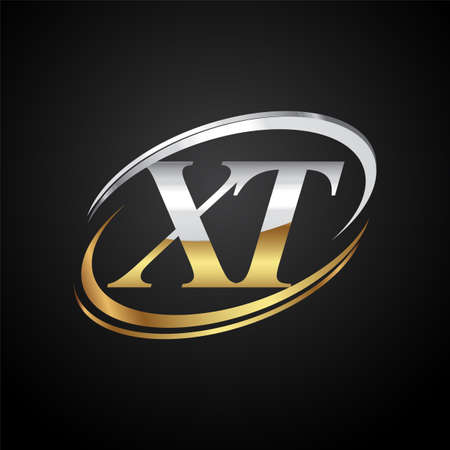initial letter XT logotype company name colored gold and silver swoosh design. isolated on black background.