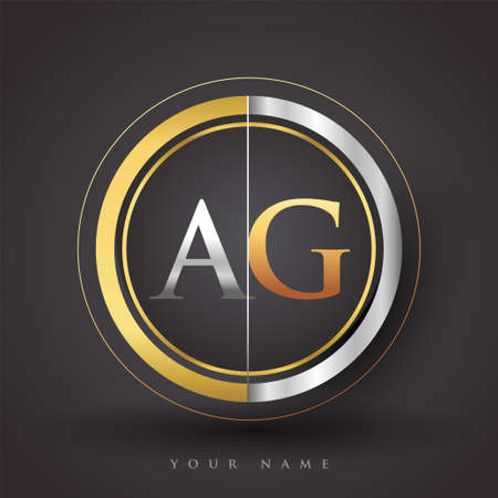AG Letter logo in a circle, gold and silver colored. Vector design template elements for your business or company identity.
