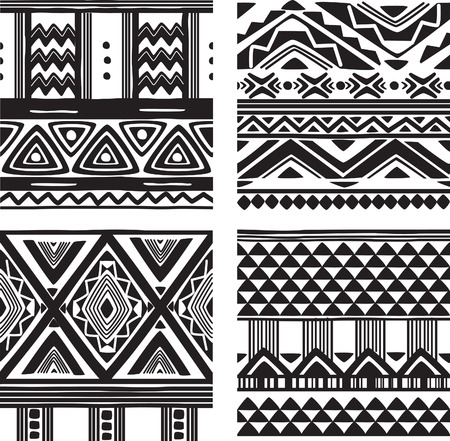 Illustration pour Set of tribal texture - image libre de droit