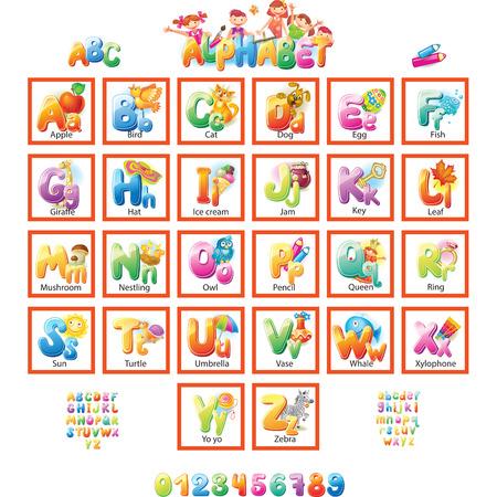 Ilustración de Alphabet with pictures for children - Imagen libre de derechos