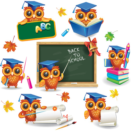 Photo pour Set of wise owls in graduation caps - image libre de droit