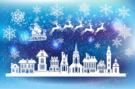 Ilustración de Silhouette of stylized facades of old buildings and Santa Claus silhouette riding a sleigh with deer. - Imagen libre de derechos