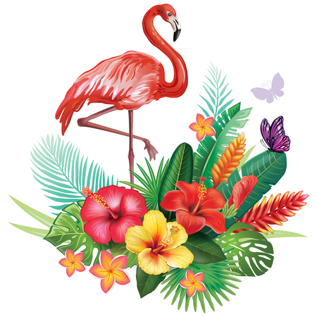 Illustration for Arrangement from tropical flowers and Flamingoes - Royalty Free Image
